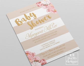 Floral Baby shower party invitation template printable baby shower invitation design gold glitter shower template digital stripes stripped