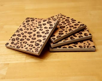 Coasters, Leopard, Print, Hand, Painted, Cat, Feline, Brown, Black, Spots, 4x4