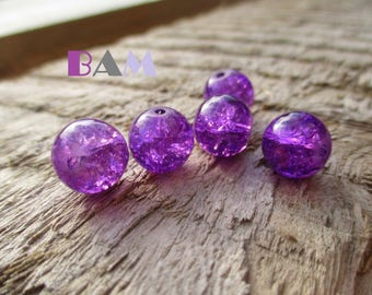 Set of 5 crackled glass beads purple 10 mm