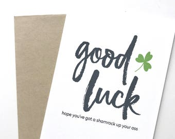 Funny St. Patrick's Day Card. Good luck card. Card for St Patricks Day. Paddys day card. Shammrock card.