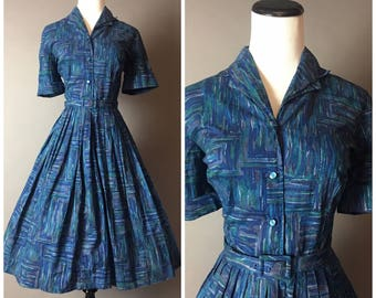 Vintage 50s dress / 1950s dress / shirtwaist dress / cotton dress / fit and flare / day dress 8115