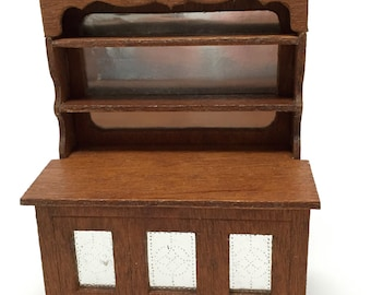 Dollhouse,Furniture,Pie Safe, Hutch, Cabinet, Buffet, Wood, Folk, Handmade, Miniature, 1:12 Scale, 1970's