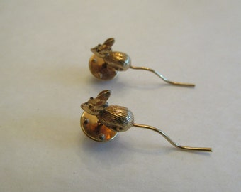 Set of 2 Vintage Mouse With Long Tail Tac Pins