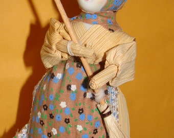 Corn Husk Doll with Old China Head