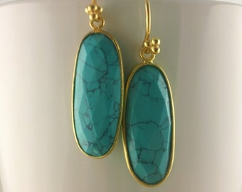 Chinese Turquoise Oval Earrings
