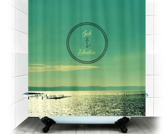 Douche de tissu de Rideau - chercher aventure - photographie, Ancre, mer, océan, salle de bains, maison, décoration, aqua, ciel, eau
