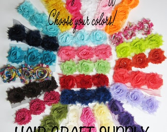 50 Mini Shabby Flowers 1.5 Inch - CHOOSE your COLORS, for headbands, crafting, clothing appliques by Hair Craft Supply