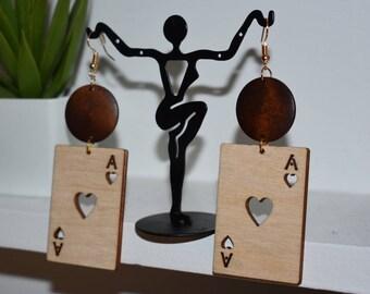 Wooden Ace Earrings