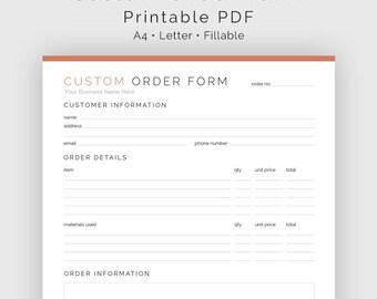 Custom Order Form - Fillable - Business Planner - Printable Organizational PDF - 3 colours - Instant Download