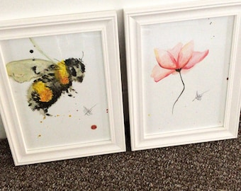 Bumble Bee & Flower Print