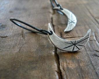 Luna Earrings - Handmade. Oxidized fine and sterling silver dangle earrings