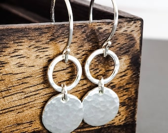 Sterling Silver Disk Drop Earrings. Boho Urban Gypsy Rustic Hammered Dangle Earrings. Eco Recycled Reclaimed Everyday Design