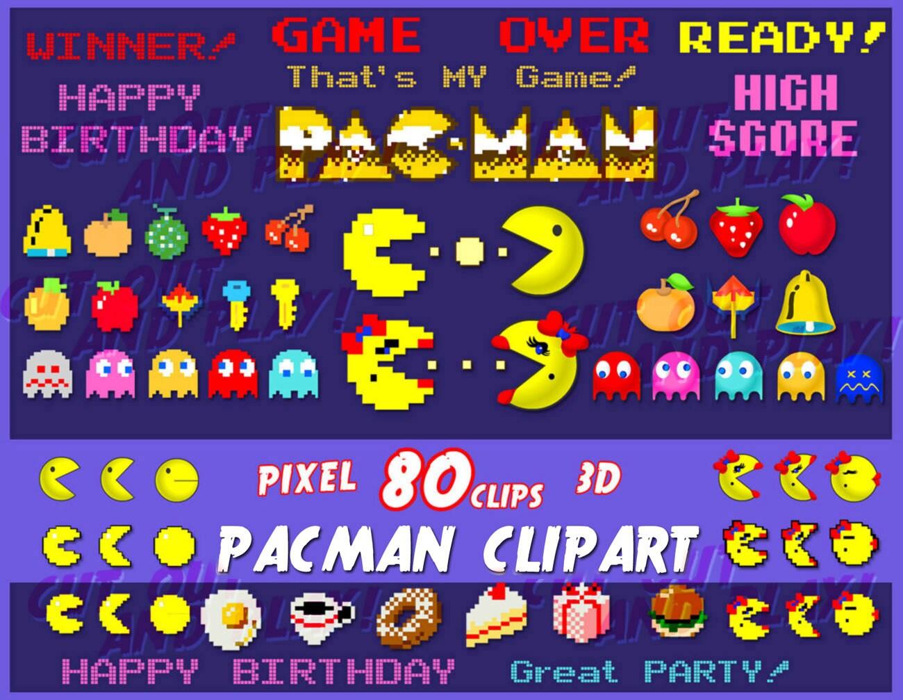 Pacman clipart, arcade clipart, pixel clipart, pacman ...