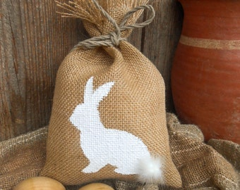 Easter Bunny Gift Bag Easter Basket Gift Bag Easter Gift Bag Shabby Chic Gift Bag Easter Decor Burlap Gift Bag Spring Gift Rustic Gift Bag