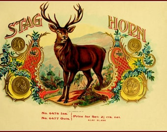 Stag Horn Cigars old Cigar Advert Print 8 x 10