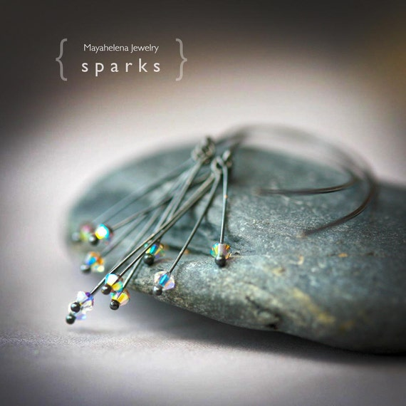 Sparks - Oxidized Sterling Silver and Crystal Modern Open Hoop Earrings
