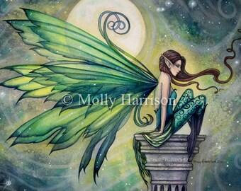 Fairy Faery Art Print by Molly Harrison - Aquamarine - Beautiful Fantasy Watercolor Art Print 12 x 18 - Fairies faeries fae