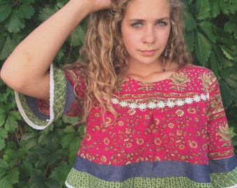 Eco Cropped Gypsy Shirt,Size S/M,festival clothing,cropped shirt, hippie top,eco cropped top,red white floral crop top,  pompom trim Zasra