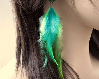 Beaded Feather Earrings - Green Feather Earrings - Emerald Isle