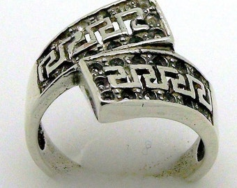 Blackened 925 Sterling Silver Ring, Greek Ornament, Original Gift, Unique Jewelry, Size 7.5