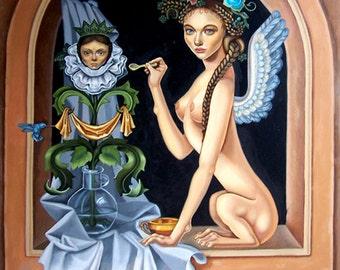 Sphynx - Surrealism Renaissance - Original Oil Painting 36''x48'' by Elina Arrom