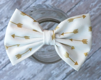 Vintage Fabric bow with golden arrows - Fabric hair bow - baby hair bow - teen hair bow - adult hair bow - Cream hair bow - Gold hair bow