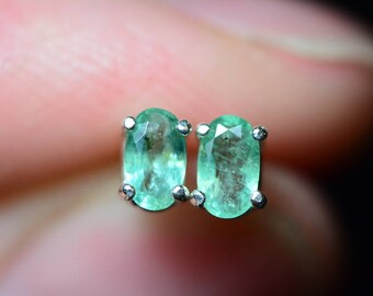 1/2 Carat Genuine Emerald Stud Earrings 5x3mm Oval Cut In Solid Sterling Silver