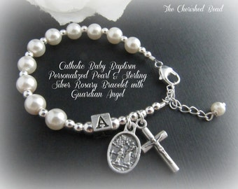 Personalized Baby Baptism Pearl & Sterling Silver Rosary Bracelet with Guardian Angel Charm - for girl or boy
