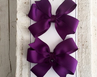 Set of 2 Hair Bows, Plum Hair Bows, Purple Hair Bow, Pigtail Hair Bows, Purple Pigtail Hair Bows