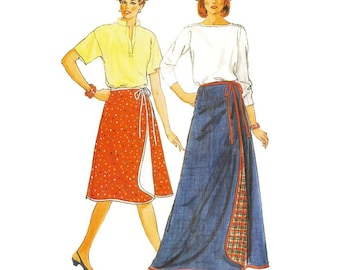 1980s Reversible Wrap Skirt Pattern Butterick 6307 W28-30-32 Uncut
