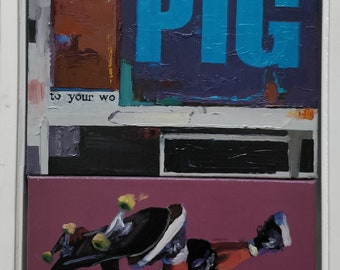 PIG(23.5x14.5) Oil On Canvas Painting