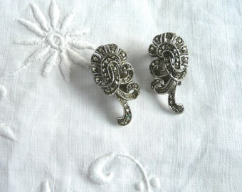 Silver marcasite earrings - mid century sterling silver and marcasite earrings - clip on silver marcasite earrings