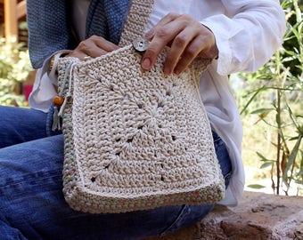 Crochet Crossbody Bag Crossbody Bag Crossbody Cotton Purse Crochet Shoulder Bag White Crossbody Handbag Boho Bag Granny Square Bag Hishuk