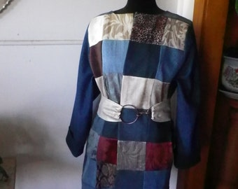 Recycled denim patchwork coat