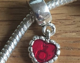 Red heart with ring enbedded 925 Sterling Silver Plated european type charm with the large hole.