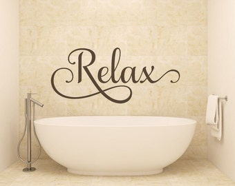 Bathroom Wall Decor - Black - Bathroom Decor - Relax - Bathroom Wall Decal - Wall Decal