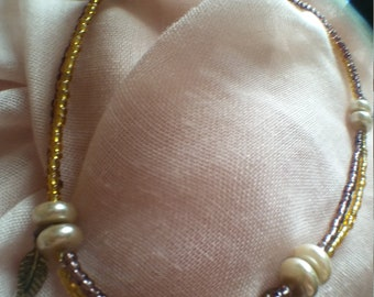 Copper feather ankle bracelet
