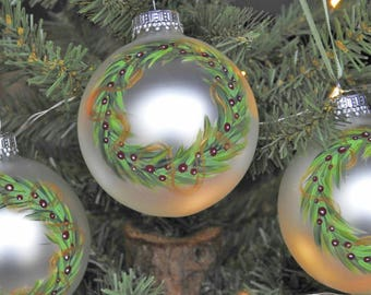 Tree Ornaments, Christmas Ornaments, Set Of 3, Glass Ornaments, Hand Painted, Christmas Decor