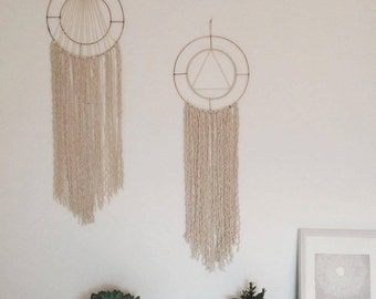 Modern macrame dream catcher on copper hoop >>Bespoke designs available<<