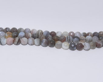 Botswana Agate - Full Strand - 6 mm, Round, Faceted, Natural - BOTSA-F-R-6
