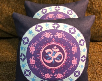 Purpleand Blue Om/Aum Pillow 10x10~