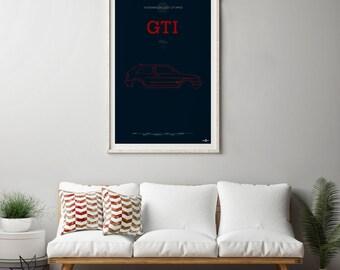 VW Golf GTi Mk2 Poster, VW Golf GTi Mk2 print, Car poster print, Volkswagen print, Volkswagen Golf, GTi poster, VW Rabbit