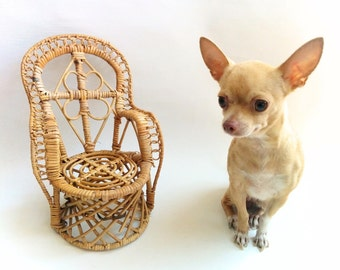Peacock Style Wicker Chair Planter from 1970s, Miniature Chair, Plant Stand Chair, Rattan Doll Chair, Fan Back Chair