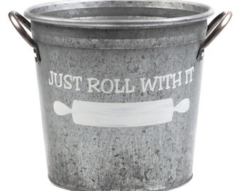 Just Roll With It Kitchen Metal Utensil Bucket, Hand Painted in White
