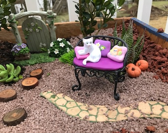Fairy Garden Bench with a white cat and pillows  polymer clay OOAK