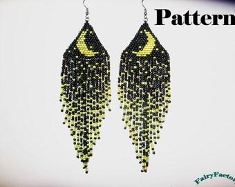 Pattern Moonlight Sonata seed beads brick stitch earrings
