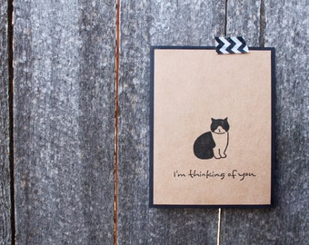 Cat Thinking of You Card Set, Cute Thinking of You Set, Handmade, Just Because, Set of 6