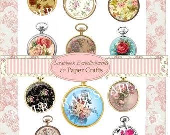 Digital Kit Floral Clock Collage Sheet
