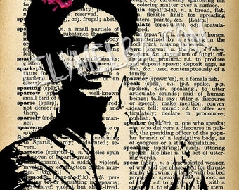 Frida Kahlo... A4 digital download collage sheet. Frida Kahlo dictionary page.
