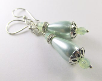 SALE 25% off! Mint Green Pearl and Chrysolite Opal Swarovksi Crystal Teardrop Bridal or Bridesmaid Earrings on Sterling Silver Wire
